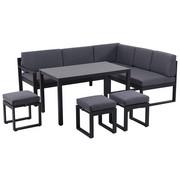 DINING-LOUNGESET 16-teilig  213/169 cm - Anthrazit/Schwarz, Design, Glas/Kunststoff (213/169cm) - Amatio