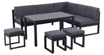 DINING-LOUNGESET 18-teilig  213/169 cm   - Anthrazit/Schwarz, Design, Glas/Textil (213/169cm) - Amatio