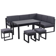 RELAXAČNÍ SESTAVA NA TERASU - šedá/černá, Design, kov/textil (213/169cm) - Amatio