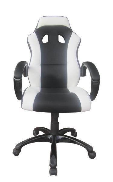 GAMINGSTUHL  in Lederlook Schwarz, Weiß - Schwarz/Weiß, Design, Kunststoff/Textil (61/110-120/66cm) - CARRYHOME