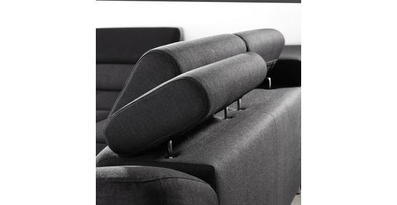 WOHNLANDSCHAFT in Textil Dunkelgrau, Schwarz - Dunkelgrau/Schwarz, Design, Textil/Metall (235/280cm) - Hom`in