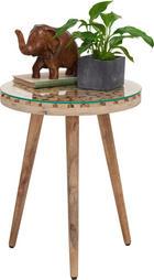 BEISTELLTISCH in Naturfarben - Naturfarben, Trend, Glas/Holz (40/40/50cm) - Ambia Home