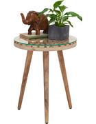 BEISTELLTISCH Sheesham, Eukalyptusholz Schichtholz rund Naturfarben - Naturfarben, Trend, Glas/Holz (40/50cm) - Ambia Home