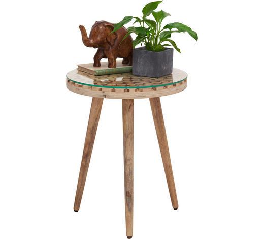 BEISTELLTISCH in Holz, Glas  40/50 cm - Naturfarben, Trend, Glas/Holz (40/50cm) - Ambia Home