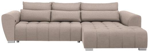 WOHNLANDSCHAFT in Textil Beige - Beige/Silberfarben, MODERN, Kunststoff/Textil (304/218/cm) - Carryhome