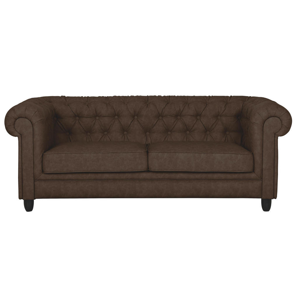 chesterfield sofa in textil dunkelbraun