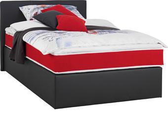 BOXSPRINGBETT 120 cm   x 200 cm   in Textil Rot, Schwarz - Rot/Schwarz, Design, Kunststoff/Textil (120/200cm) - CARRYHOME