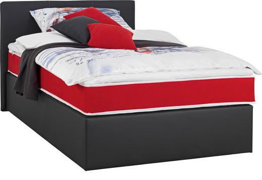 BOXSPRINGBETT  in Rot, Schwarz - Rot/Schwarz, Design, Kunststoff/Textil (120/200cm) - Carryhome