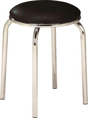 STAPELBAR PALL - kromfärg/svart, Klassisk, metall/textil (46/45/46cm)