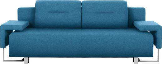 SCHLAFSOFA in Textil Türkis - Türkis/Chromfarben, Design, Kunststoff/Textil (222/84/93cm) - Carryhome