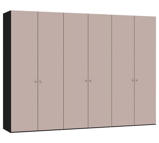 DREHTÜRENSCHRANK in Rosa, Schwarz - Silberfarben/Schwarz, Design, Glas/Holzwerkstoff (303,1/220/58,5cm) - Jutzler