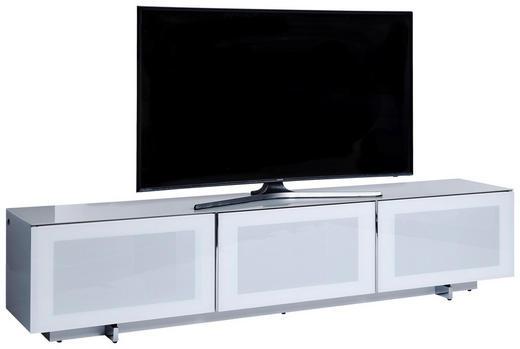 LOWBOARD 210/46/40 cm - Chromfarben/Weiß, Design, Glas/Holzwerkstoff (210/46/40cm)