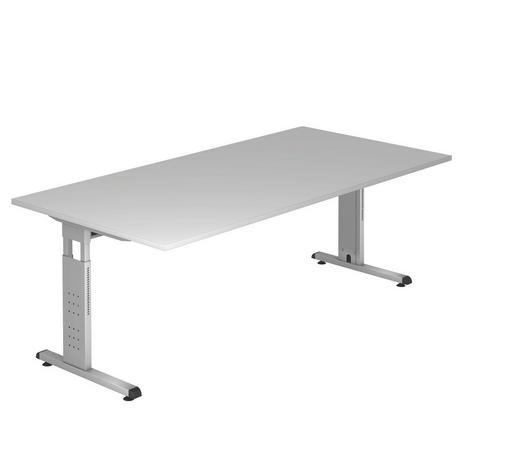 SCHREIBTISCH - Silberfarben/Grau, KONVENTIONELL, Holzwerkstoff/Metall (200/65-85/100cm)