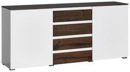 KOMMODE matt, Hochglanz Weiß, Eichefarben - Eichefarben/Alufarben, Design, Holzwerkstoff/Kunststoff (182/84/41cm) - Novel
