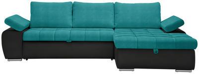 WOHNLANDSCHAFT in Textil Schwarz, Petrol  - Petrol/Schwarz, Design, Kunststoff/Textil (271/175cm) - Xora