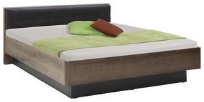 BETT in Schwarz, Eichefarben  - Eichefarben/Schwarz, Design, Holzwerkstoff/Textil (180/200cm) - Carryhome