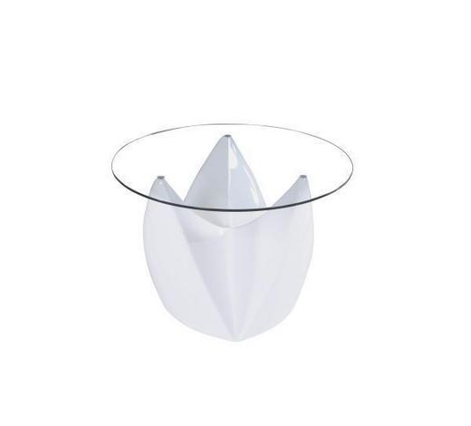KLUBSKA MIZA, bela  - bela, Design, umetna masa/steklo (70/46cm) - Xora