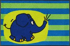 FUßMATTE 50/75 cm Elefant Blau, Grün, Multicolor - Blau/Multicolor, Basics, Kunststoff/Textil (50/75cm) - Esposa