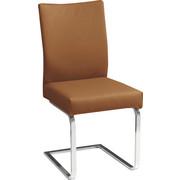 SCHWINGSTUHL in Leder, Metall Chromfarben, Hellbraun - Chromfarben/Hellbraun, Design, Leder/Metall (47/95/59cm) - NOVEL