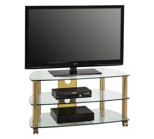 TV-RACK Metall, Glas Klar, Messingfarben  - Klar/Messingfarben, Basics, Glas/Kunststoff (95/50,5/51,4cm)