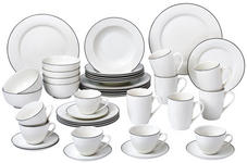 New Bone China  KOMBISERVICE 42-teilig - Schwarz/Weiß, KONVENTIONELL, Keramik - Novel