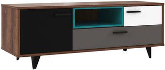 TV-ELEMENT bela, črna, hrast, siva, zelena - črna/siva, Design, umetna masa/leseni material (154,5/54,4/52,2cm) - Carryhome