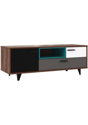 TV-ELEMENT siva, zelena, črna, bela, hrast  - črna/siva, Design, umetna masa/leseni material (154,5/54,4/52,2cm) - Carryhome