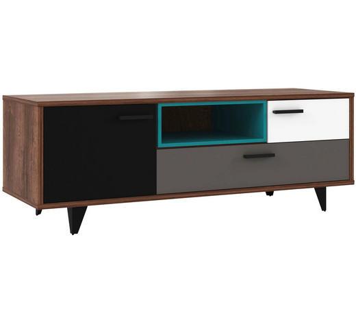 Tv-element in Grau, Grün, Schwarz, Weiß, Eichefarben  - Eichefarben/Schwarz, Design, Holzwerkstoff/Kunststoff (154,5/54,4/52,2cm) - Carryhome