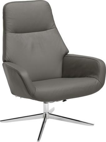 RELAXAČNÍ KŘESLO, šedá, kov, kůže - šedá/barvy chromu, Design, kov/kůže (67/104/87cm) - NOVEL