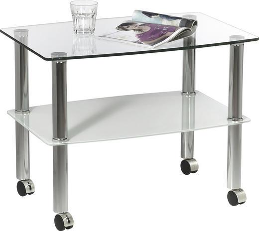BEISTELLTISCH rechteckig Klar, Weiß - Klar/Weiß, Design, Glas/Kunststoff (60/46/40cm) - Xora