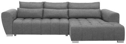 WOHNLANDSCHAFT in Textil Grau  - Silberfarben/Grau, MODERN, Kunststoff/Textil (304/218cm) - Carryhome