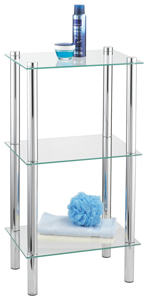 BADEZIMMERREGAL Glas, Metall Chromfarben - Chromfarben, Design, Glas/Metall (40/30/74cm)
