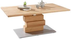 COUCHTISCH in Holz 110,3/65,3/45,5-(63) cm - Eichefarben/Alufarben, Design, Holz/Holzwerkstoff (110,3/65,3/45,5-(63)cm) - Linea Natura