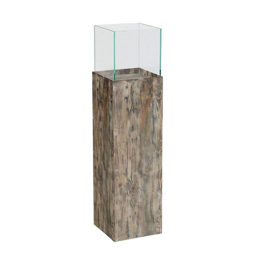 DEKOSÄULE Glas, Holz Kiefer - Glas/Holz (21,5/21,5/80cm)