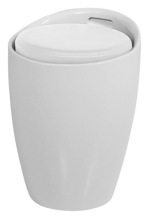 HOCKER Lederlook Weiß - Weiß, Design, Kunststoff/Textil (35.5/51/35.5cm)