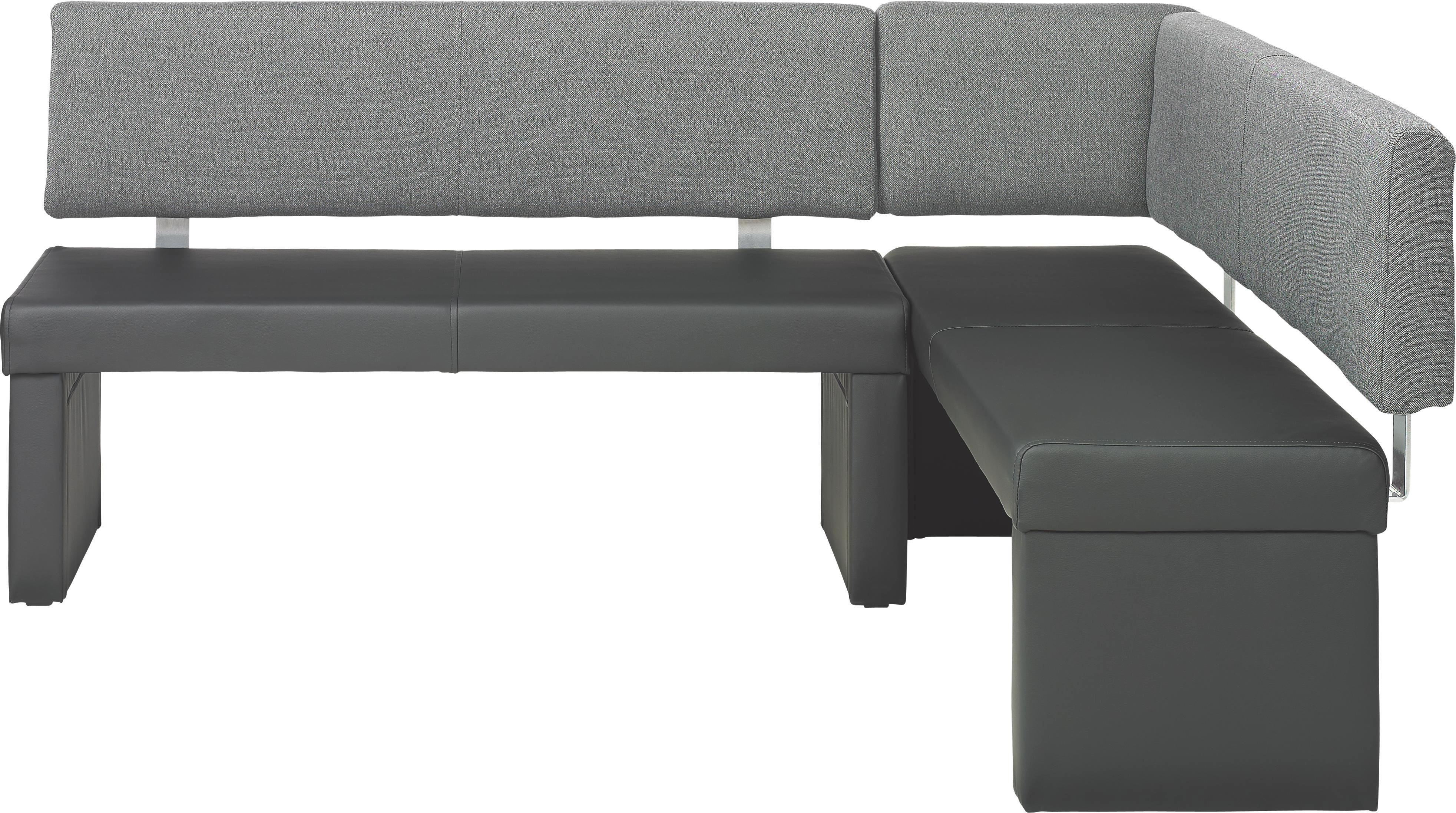 ECKBANK In Metall, Textil Grau, Schwarz   Schwarz/Grau, Design, Textil