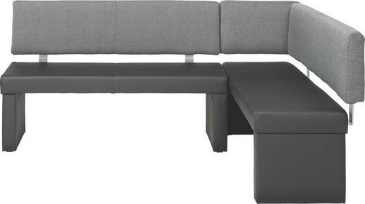 ECKBANK  in Grau, Schwarz - Schwarz/Grau, KONVENTIONELL, Textil/Metall (148/196cm) - Carryhome