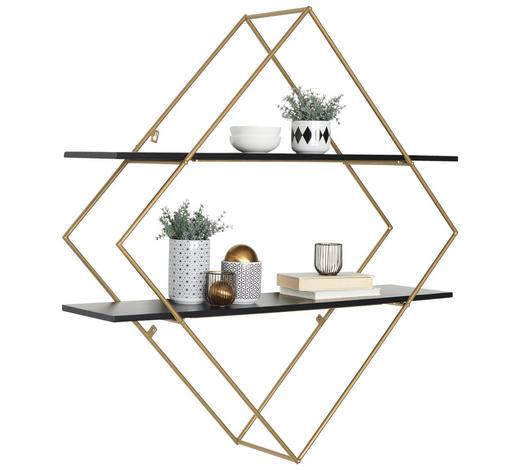 NÁSTĚNNÝ REGÁL, černá, barvy zlata - černá/barvy zlata, Trend, kov/dřevo (107/107/26cm) - Ambia Home