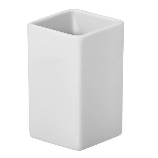 ZAHNPUTZBECHER - Weiß, Basics, Keramik (6,5/6,5/10,5cm) - Spirella