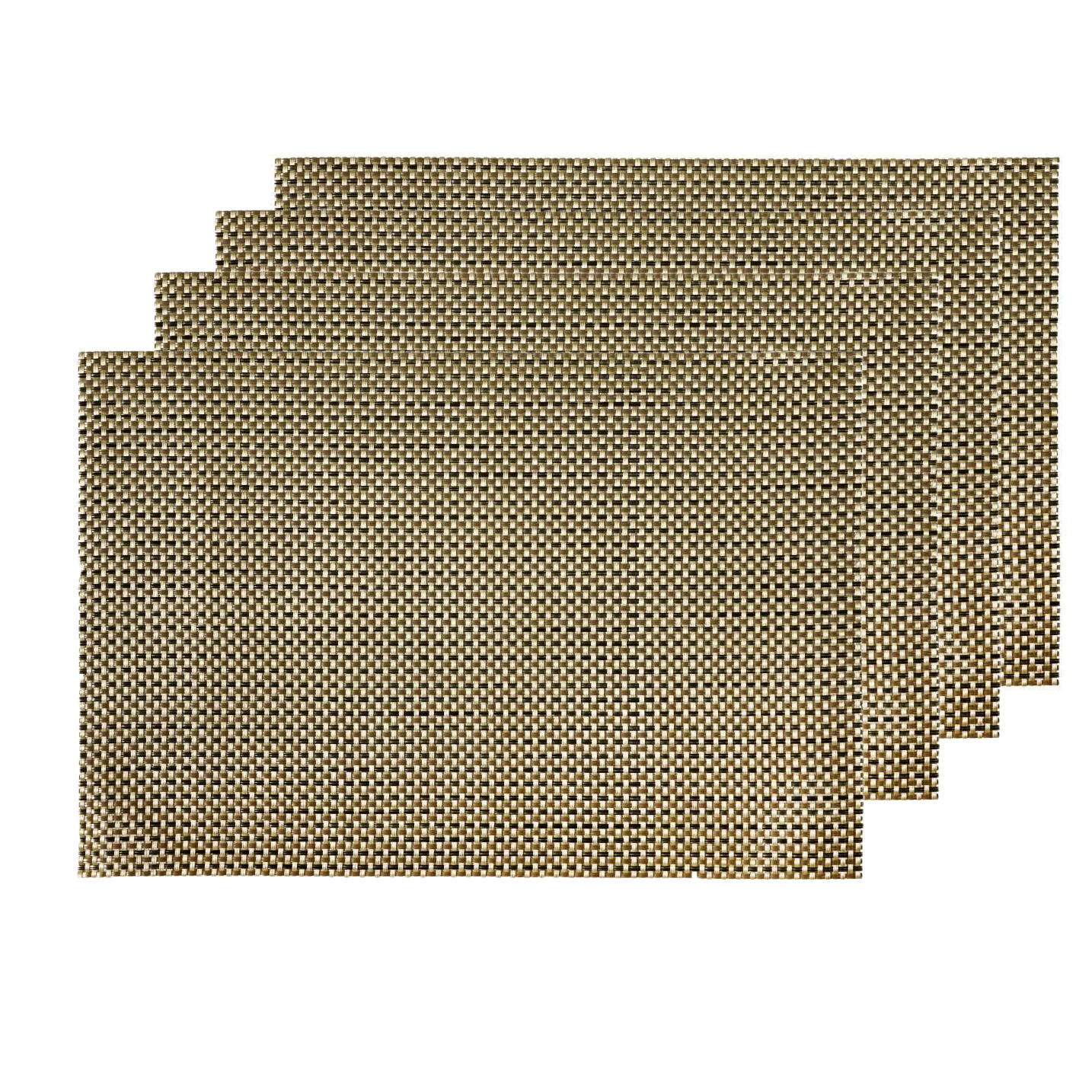 4-er Pack Leinen Platzsets 50x35 cm Stoff Tischsets Weiss Grau