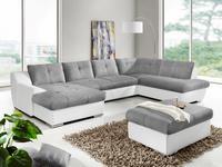 WOHNLANDSCHAFT in Textil Grau, Weiß  - Chromfarben/Weiß, KONVENTIONELL, Textil/Metall (172/361/225cm) - Venda