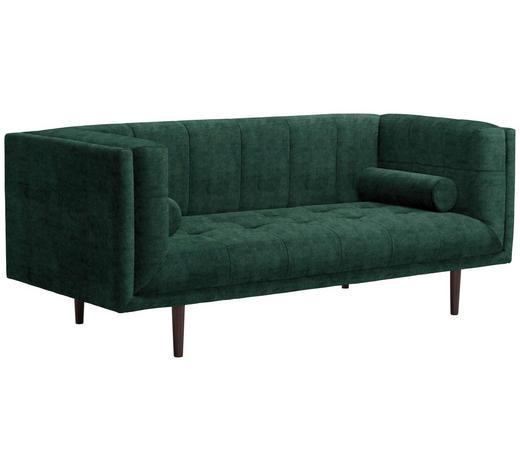 SOFA in Textil Dunkelgrün - Dunkelgrün/Dunkelbraun, Design, Holz/Textil (200/80/87cm) - Carryhome