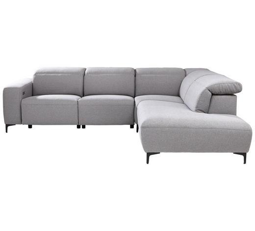 WOHNLANDSCHAFT in Textil Grau  - Chromfarben/Schwarz, Design, Textil (290/238cm) - Pure Home Lifestyle