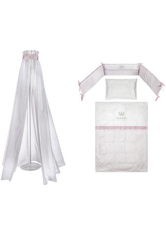 Gitterbettset - Rosa/Weiß, Basics, Textil - Patinio