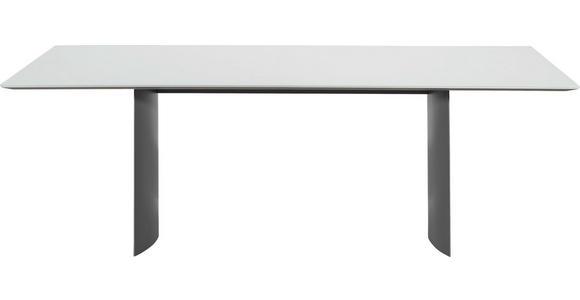 ESSTISCH in Dunkelgrau, Weiß - Dunkelgrau/Weiß, Design, Glas/Metall (220/100/75cm) - Dieter Knoll