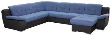 SEDEŽNA GARNITURA,  modra, siva tekstil - modra/siva, Design, umetna masa/tekstil (265/330/170cm) - Xora