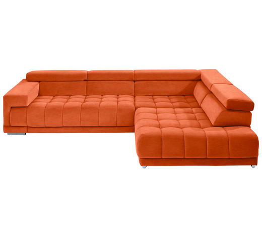 WOHNLANDSCHAFT in Textil Orange  - Chromfarben/Orange, Design, Textil/Metall (323/222cm) - Beldomo Style