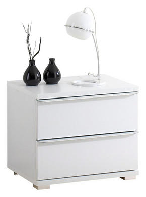 SÄNGBORD - vit/alufärgad, Design, träbaserade material/plast (51/44/40cm) - Moderano