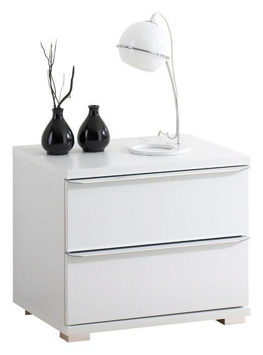 NACHTKÄSTCHEN Weiß - Chromfarben/Weiß, Design, Glas/Kunststoff (51/44/40cm) - Moderano