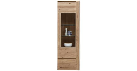 VITRINE Eiche furniert, massiv Eichefarben - Eichefarben/Alufarben, KONVENTIONELL, Glas/Holz (65/205,1/37,7cm) - Voleo